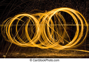 Light Painting Sparks - Round Light Painting Sparks at Night