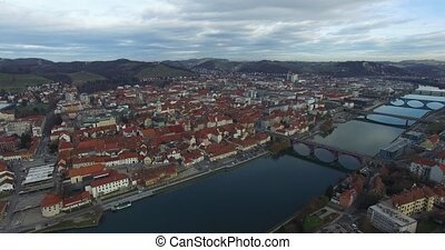 Aerials view of Maribor city in the overcast day, Slovenia