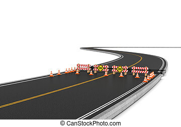Rendering of road closed with barriers, traffic cones and...