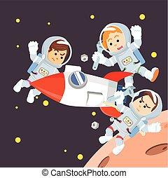 group of astronaut repairing rocket