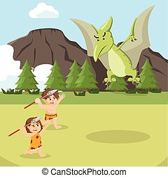 cave man and cave woman attacking pteranodon