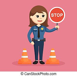 police woman with stop sign