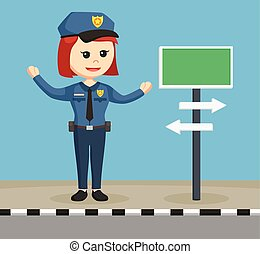 police woman with street sign
