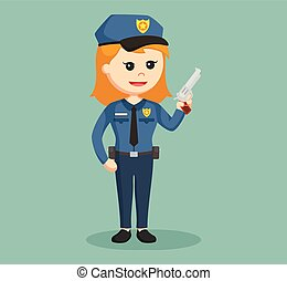 police woman with handgun