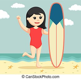 female lifeguard with surfboard