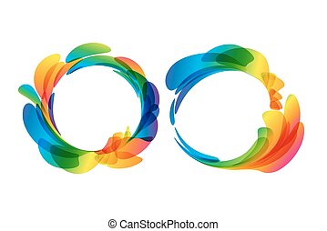 Frame rounded set of colored petals