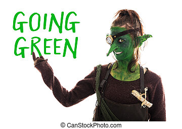 green goblin pointed of text going green, sustainable...