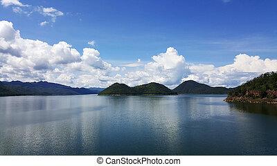 View from dam located in Srinakarin Dam Kanchanaburi,...