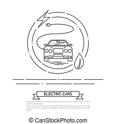Modern electric powered car with cord and plug Line art