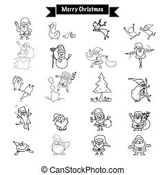Hand drawing Merry Christmas funny drawing Santa Claus and...
