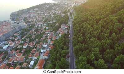 aerial view of the cableway above Dubrovnik at sunset....