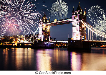 celebration of the New Year in London, UK - Tower bridge...