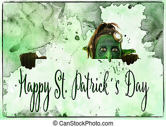 green goblin looking above, happy st. patrick´s Day - green...