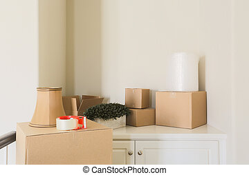 Variety of Packed Moving Boxes In Empty Room - Variety of...