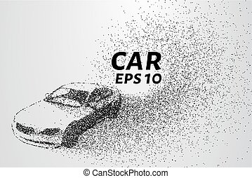 Car illustration transforming into small pieces. Particles...