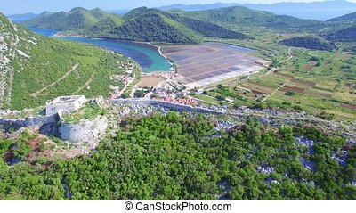 aerial view of salt producing town of Ston in Croatia