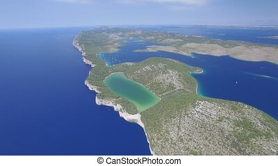 aerial view of the Slano lake in nature park Telascica,...
