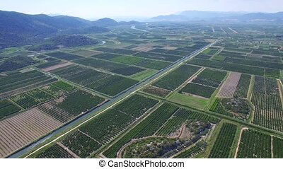 aerial view of beautiful Neretva valley in southern Croatia.