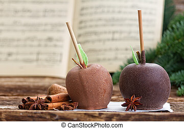 Glazed in chocolate apple for christmas - Apples for...