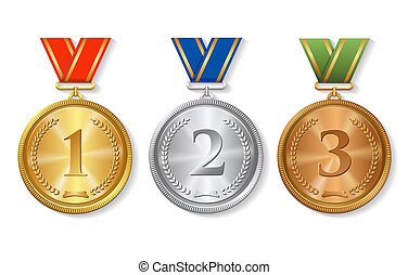 Award gold, silver and bronze winner Medals Set with ribbons...