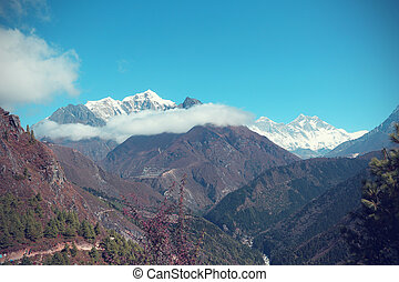 beautiful mountain landscape on the way to everest base...