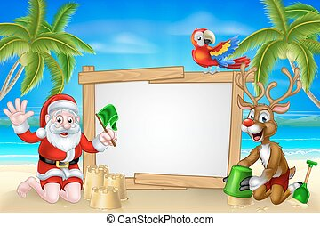 Beach Christmas Santa and Reindeer