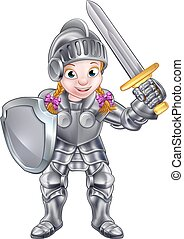 Cartoon Knight Girl - A cartoon knight girl in her suit of...