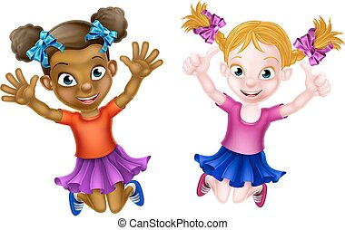 Happy Cartoon Little Girls - Happy cartoon young girls, one...