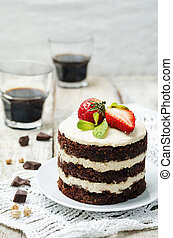 chocolate chickpeas vegan cake with cashew cream. toning....