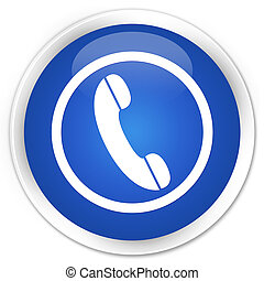 Phone icon blue glossy round button