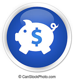 Piggy bank (dollar sign) icon blue glossy round button