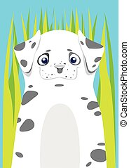 Print Dalmatian in the grass on blue background