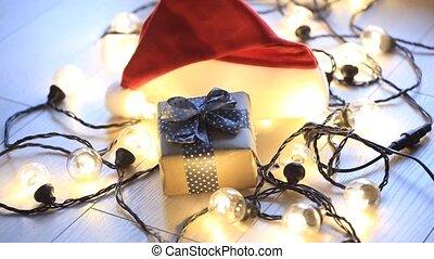 Christmas gift and lights ]