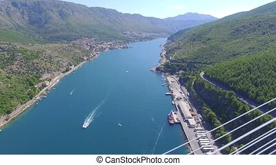 Aerial view of Dubrovnik bridge - entrance to the city