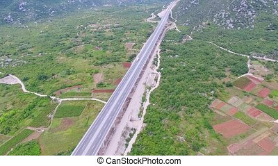 Aerial view of the viaduct on the autobahn in Croatia