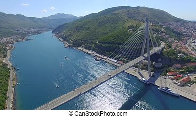 Aerial view of Dubrovnik bridge - entrance to the city,...