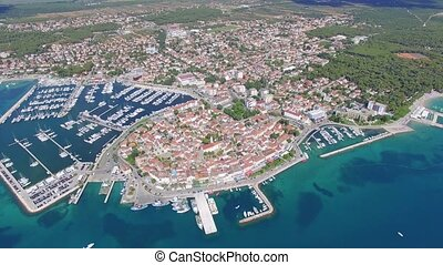 Aerial view of small town on Adriatic coast, Biograd na...