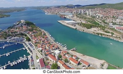 Aerial view of Sibenik in Croatia - adriatic tourist...