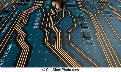 Flying over a futuristic circuit board with CPU. Technology...