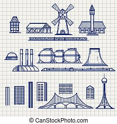 Country and city archetictural objects sketch