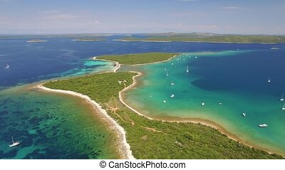 Aerial view of Veli Rat on the Adriatic island Dugi Otok,...