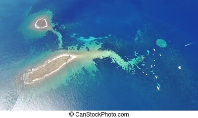 Aerial view of the sunken ship near the island Dugi otok,...