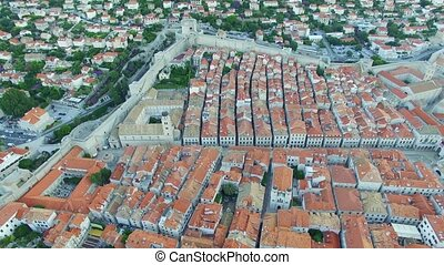 Aerial view of the old city of Dubrovnik before sunrise,...