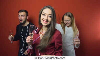 New Year Friends Party - Friends on a New Year party have...