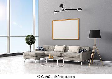 3d render of white interior room setup - 3d render of clean...