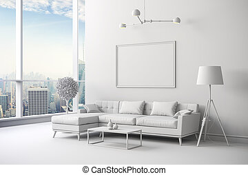 3d render of white interior room setup