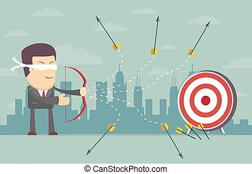 Blindfold businessman shooting arrow - Blindfold businessman...