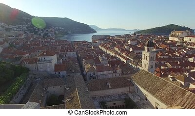 Aerial view of the old city of Dubrovnik during sunrise,...