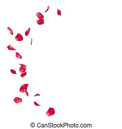 Pink rose petals scattered on the floor in a semi-circle....