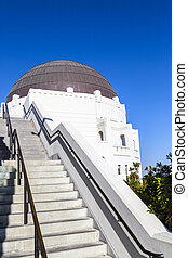 observatory in Griffith park with blue sky